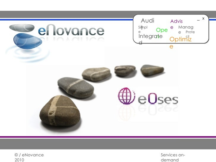 28/01/10 © / eNovance 2010 Services on-demand _ x Audit Advise Open Simple Optimize Manage Integrated Protect