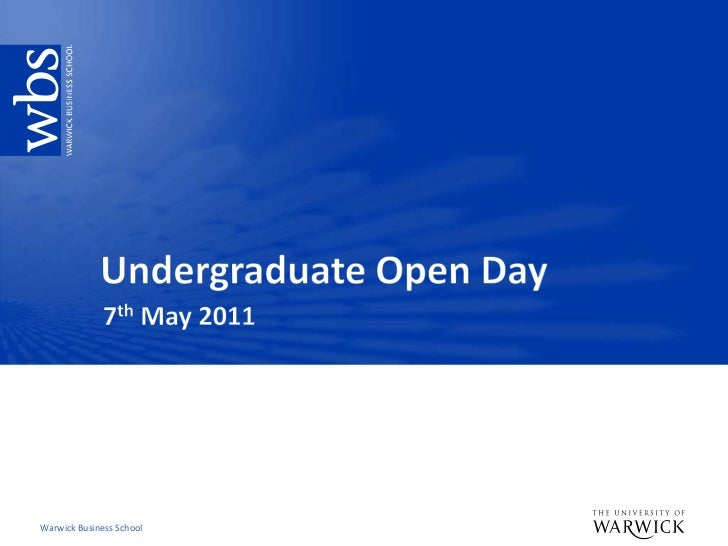 Undergraduate Open Day<br />7th May 2011<br />