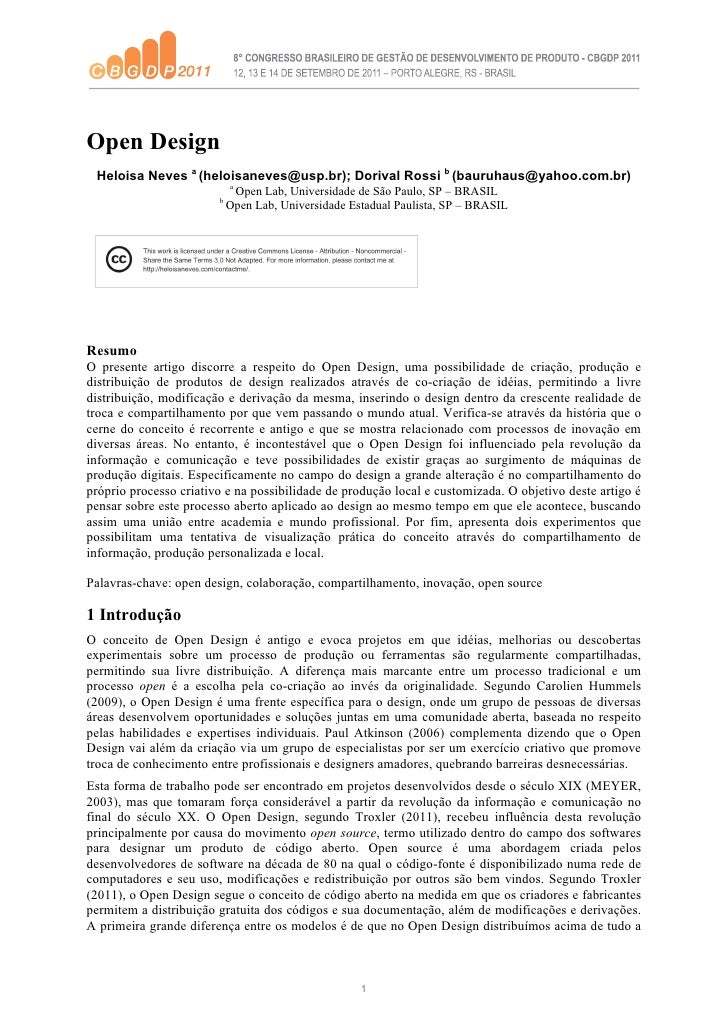 (2011) Open Design - paper presented at VIII CBGDP Porto Alegre