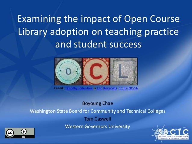 Examining the impact of Open CourseLibrary adoption on teaching practice         and student success            Credit: Ti...
