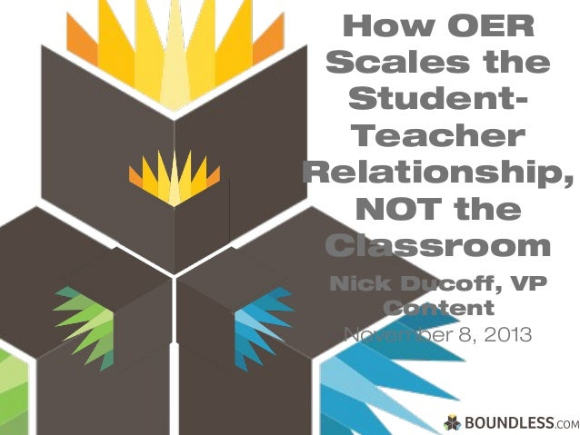 How OER Scales the StudentTeacher Relationship, NOT the Classroom Nick Ducoff, VP Content November 8, 2013