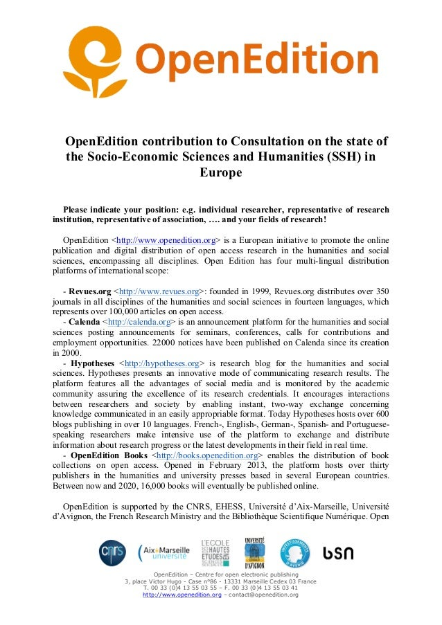 OpenEdition – Centre for open electronic publishing 3, place Victor Hugo - Case n°86 - 13331 Marseille Cedex 03 France T. ...