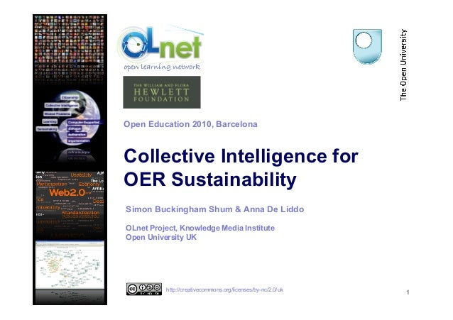 Collective Intelligence for OER Sustainability 1 Simon Buckingham Shum & Anna De Liddo OLnet Project, Knowledge Media Inst...