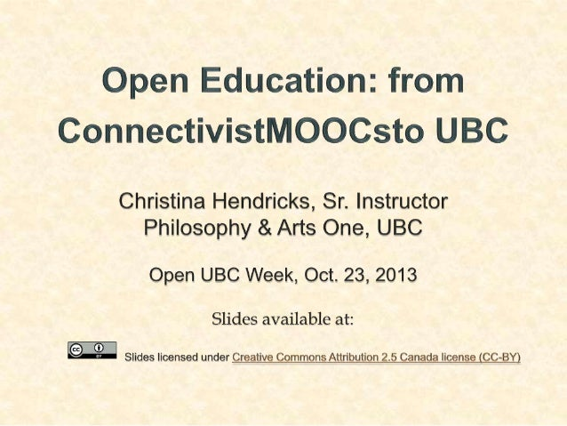 Open Education: From cMOOCs to UBC