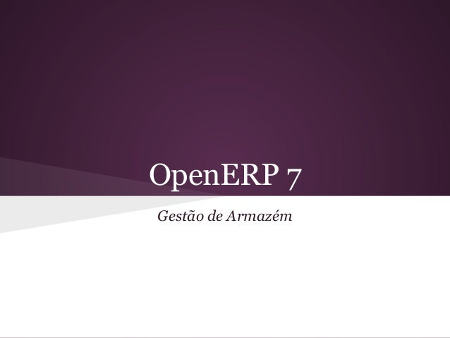 OpenERP 7 Gestão de Armazém
