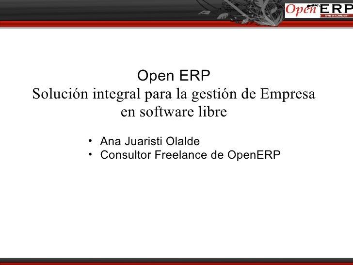 Presentación openerp opensourceworldconference Ana Juaristi