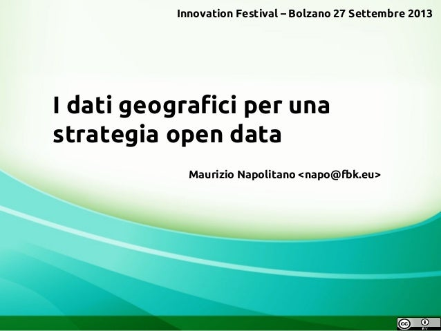 I dati geografici per una strategia open data