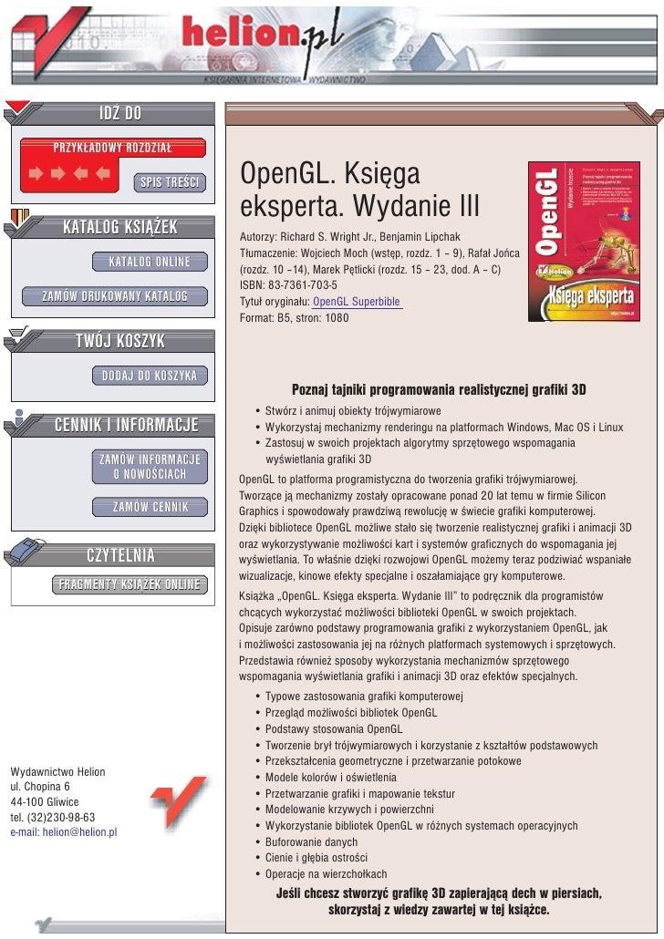 IDZ DO          PRZYK£ADOWY ROZDZIA£                             SPIS TRE CI   OpenGL. Ksiêga                             ...