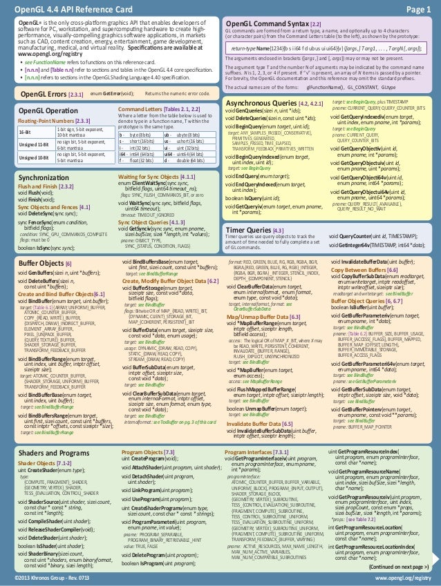 www.opengl.org/registry©2013 Khronos Group - Rev. 0713 OpenGL 4.4 API Reference Card Page 1  OpenGL Operation Floating-P...