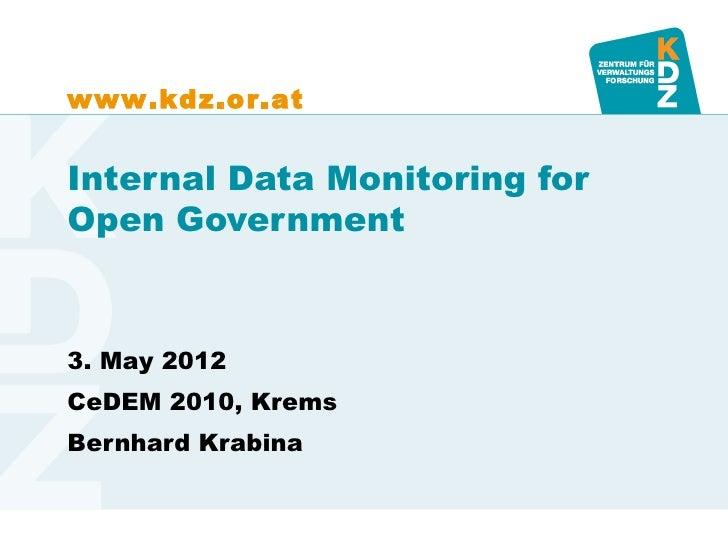 Open Government Implementation Model - Internal Data Monitoring - CeDEM 2012