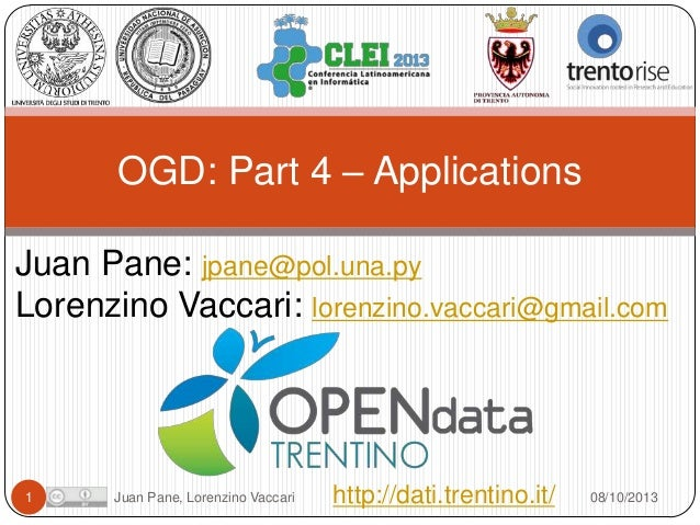 Open Government Data Tutorial at CLEI 2013. Part 4 Applications