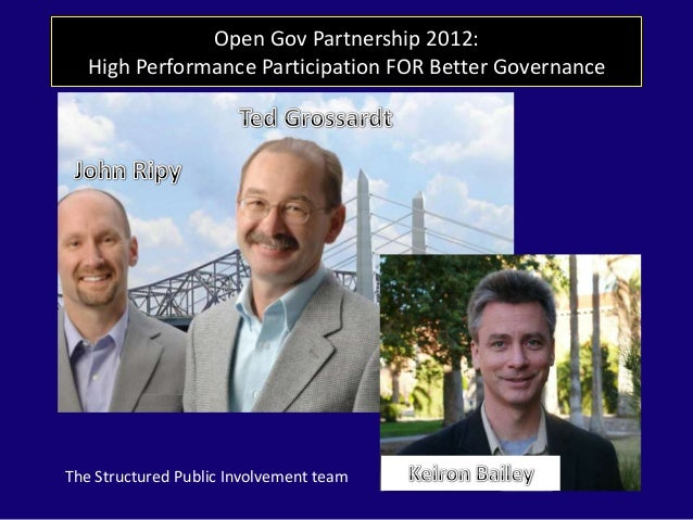 Open Gov Partnership 2012: High Performance Participation FOR Better Governance The Structured Public Involvement team