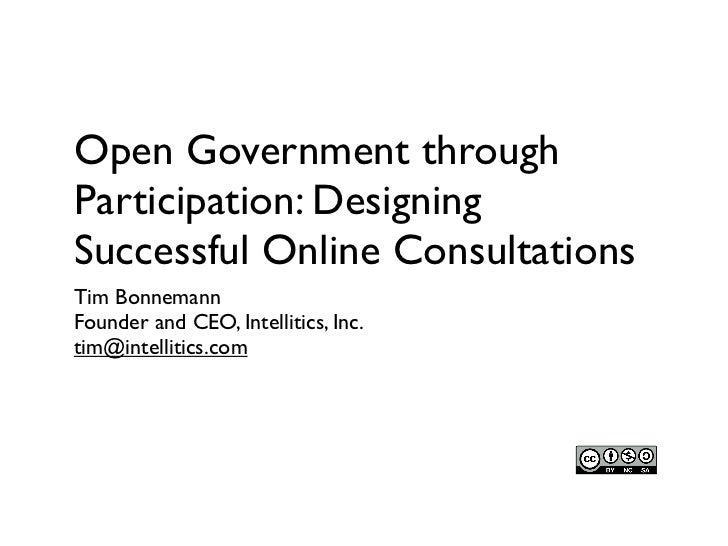 Open Government through Participation: Designing Successful Online Consultations