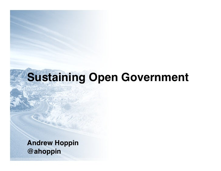 Sustaining Open Government