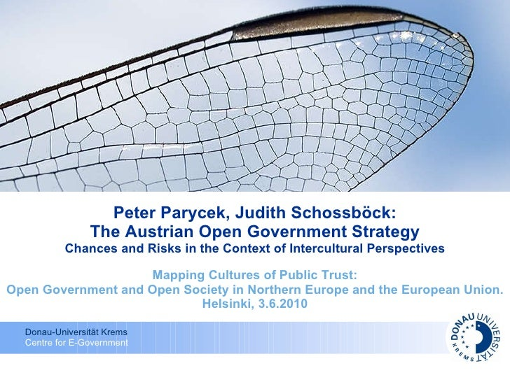 Peter Parycek, Judith Schossböck: The Austrian Open Government Strategy Chances and Risks in the Context of Intercultural ...