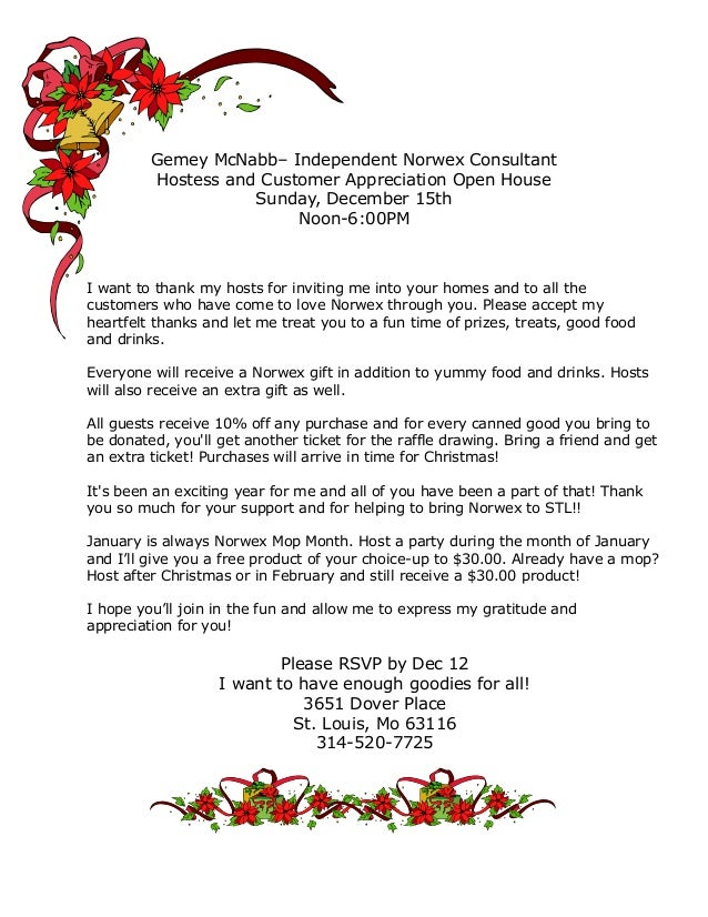 Gemey McNabb– Independent Norwex Consultant Hostess and Customer Appreciation Open House Sunday, December 15th Noon-6:00PM...