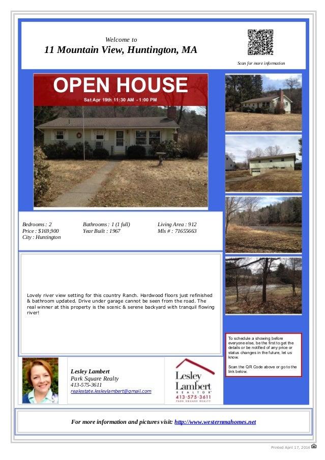 Open house- Riverfront Home- 11 Mountain View, Huntington, MA