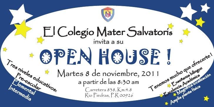 El Colegio Mater Salvatoris                                     invita a suTr  es      niv          ele             OPEN H...