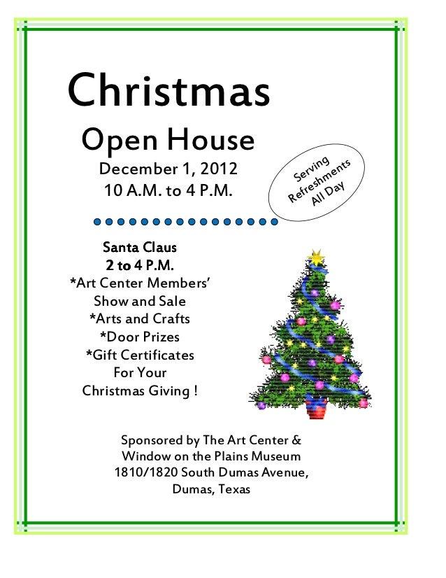 Christmas Open House                              g    December 1, 2012                r vin ents                         ...