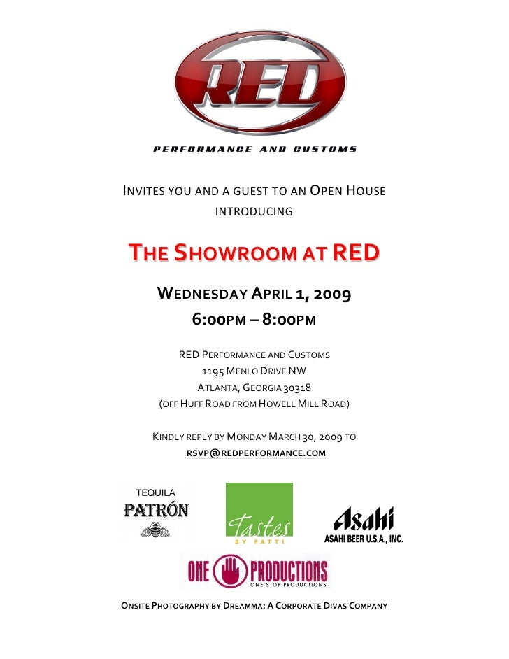 INVITES YOU AND A GUEST TO AN OPEN HOUSE                    INTRODUCING    THE SHOWROOM AT RED        WEDNESDAY APRIL 1, 2...
