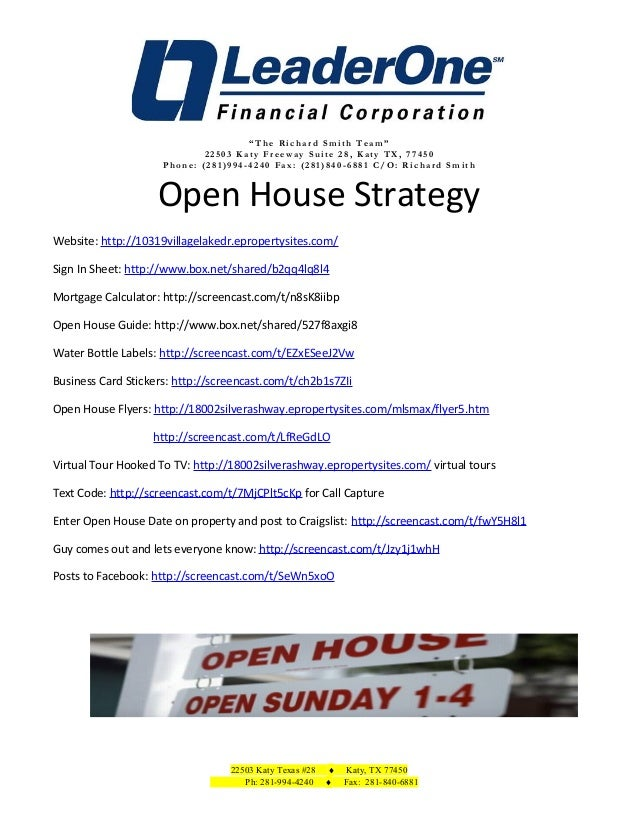 Open House Strategy