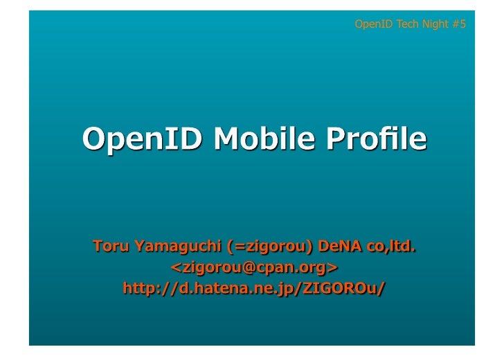 OpenID Mobile Profile