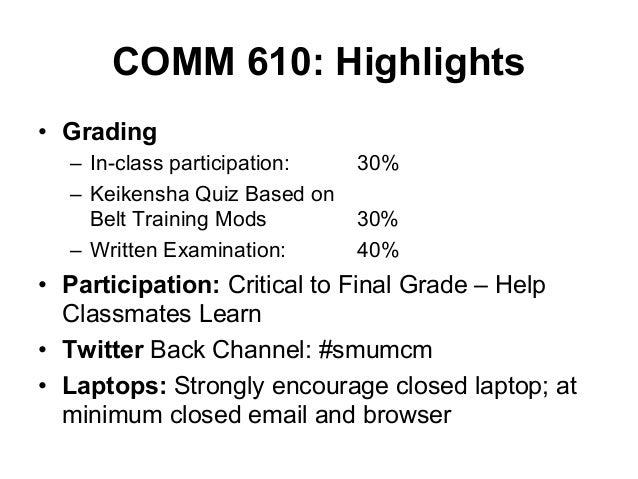 COMM 610: Highlights • Grading – In-class participation: – Keikensha Quiz Based on Belt Training Mods – Written Examin...