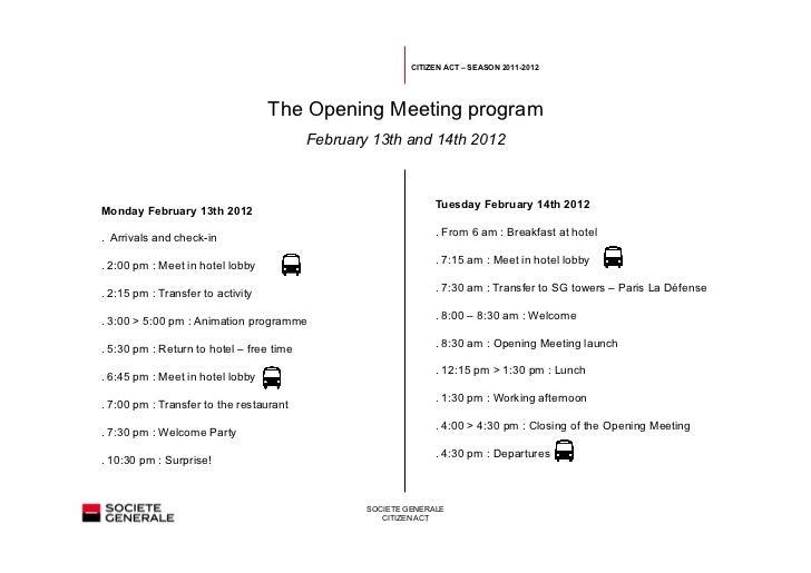 Opening meeting program - Citizen Act 2012