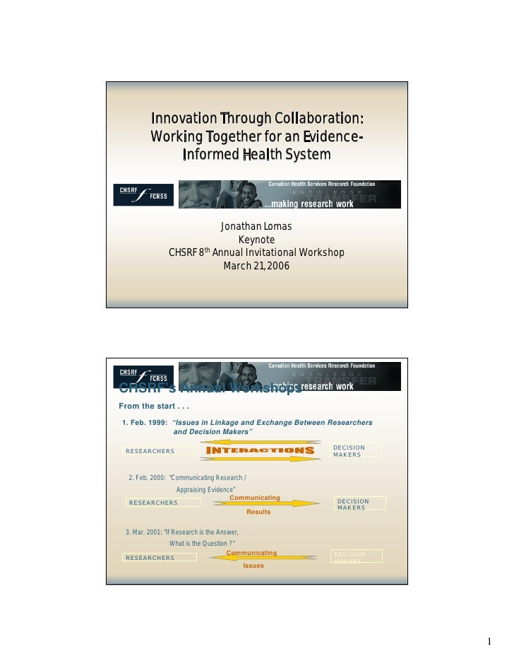 Innovation through Collaboration: Working together for an evidence-informed health system