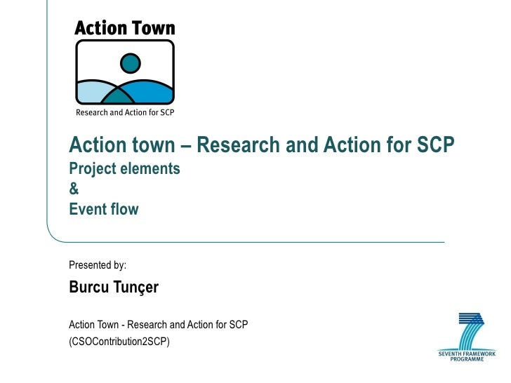 Action town – Research and Action for SCP Project elements  & Event flow Presented by: Burcu Tunçer Action Town - Research...