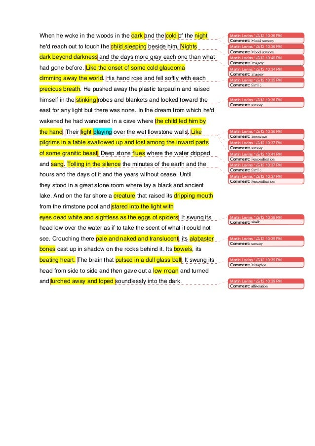Opening section the road annotated