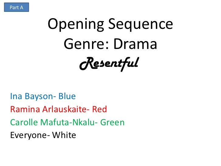 Part A         Opening Sequence           Genre: Drama                ResentfulIna Bayson- BlueRamina Arlauskaite- RedCaro...