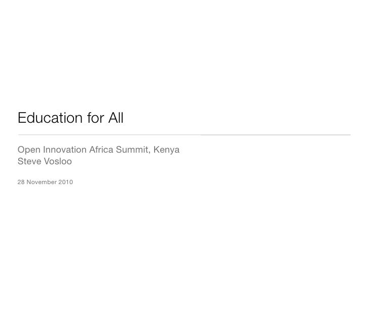 Education for All mLearning presentation, Open Innovation Africa Summit