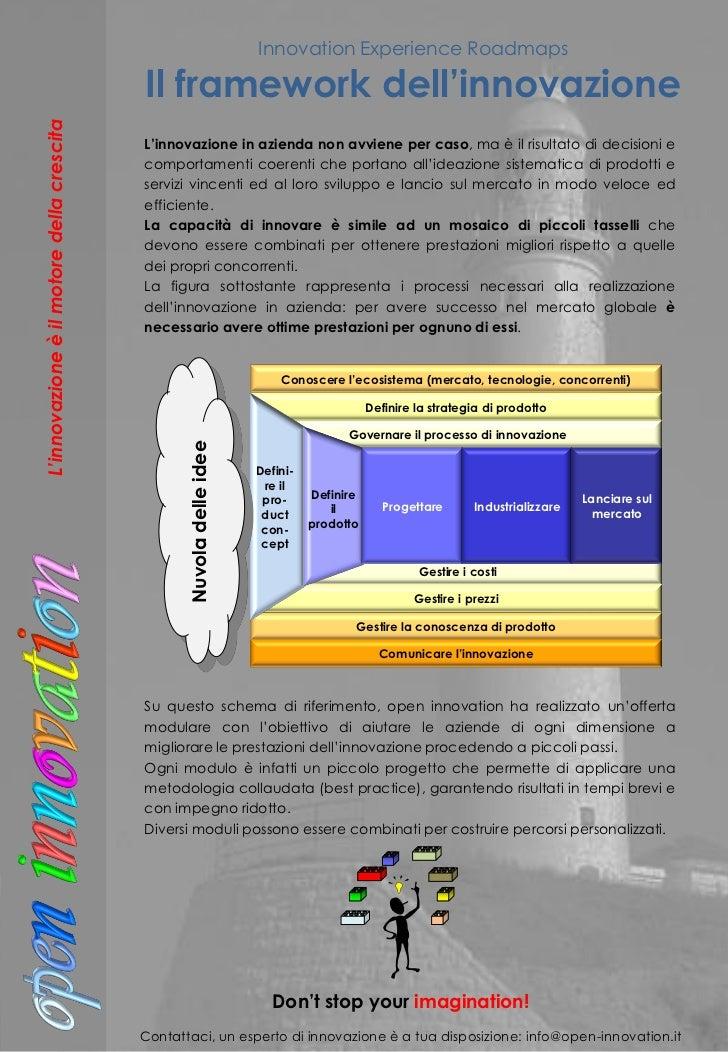 Innovation Experience Roadmaps                                           Il framework dell'innovazioneL'innovazione è il m...