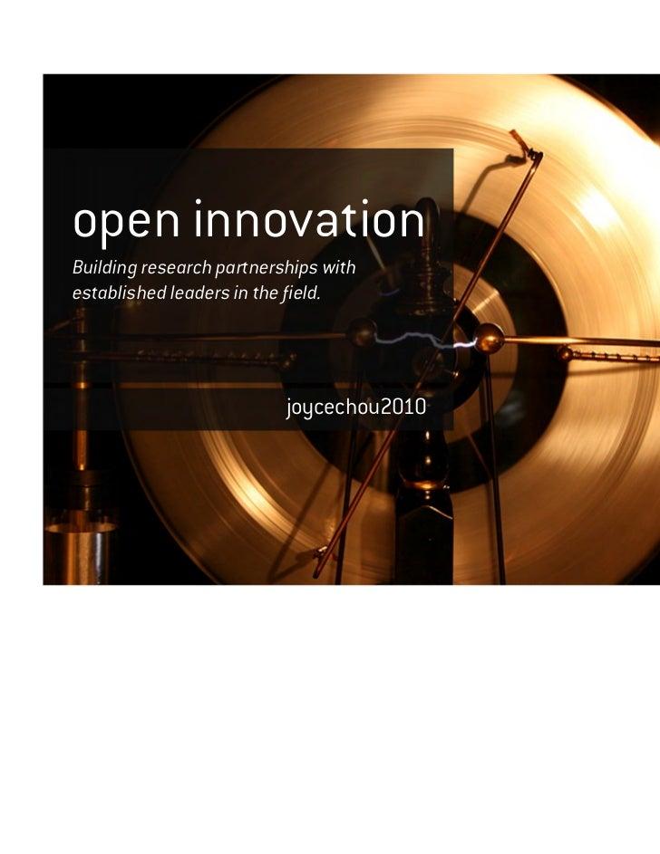 Open innovation portfolio