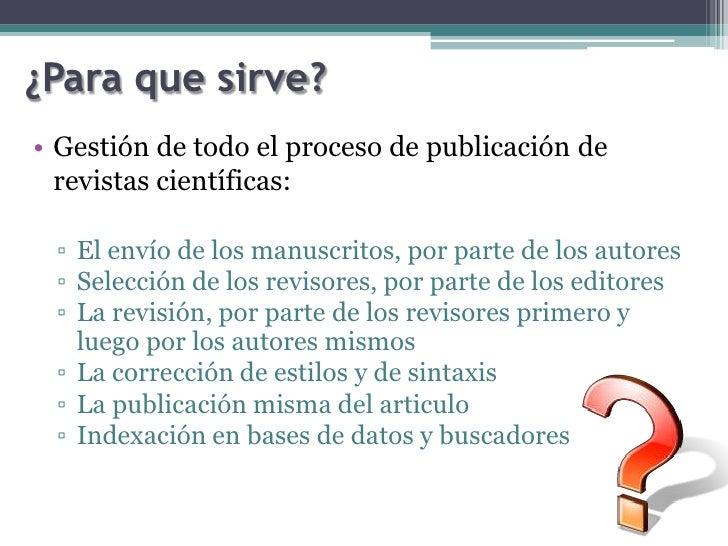 Open journal system - Para que sirve una vaporeta ...