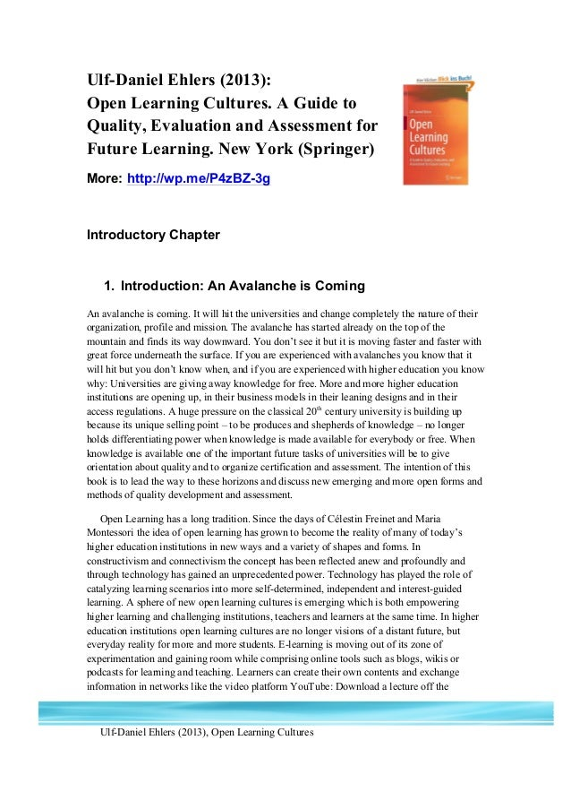 """Chapter 1 of """"Open Learning Cultures. A Guide to Quality, Evaluation and Assessment for Future Learning"""" by Ulf-Daniel Ehlers"""