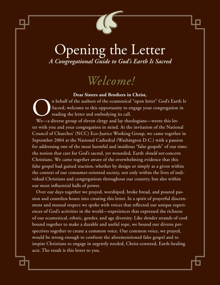 Opening the Letter         A Congregational Guide to God's Earth Is Sacred                             Welcome!           ...