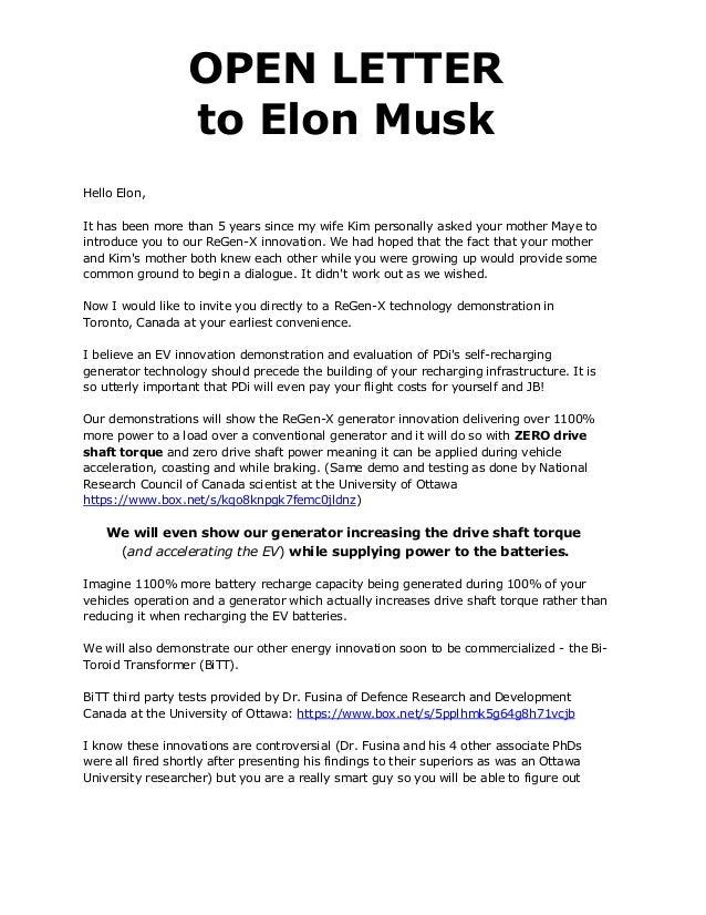 OPEN LETTER To Elon Musk