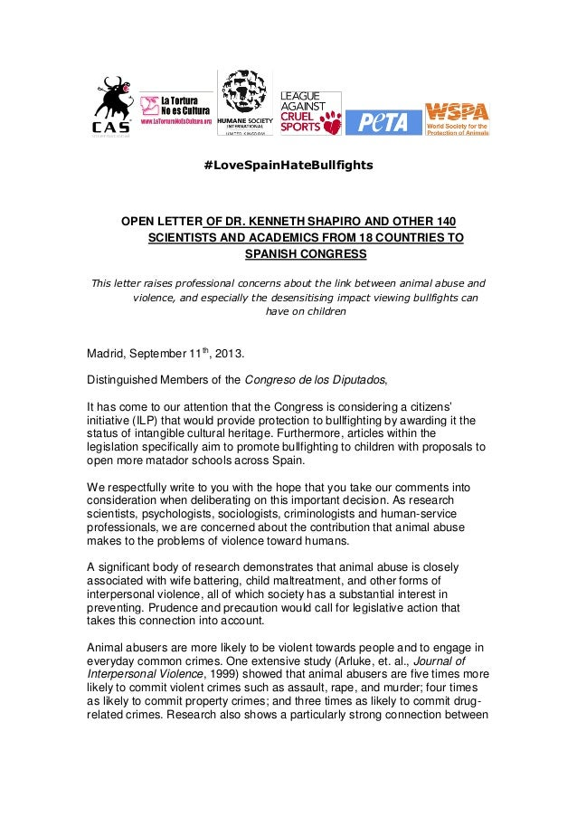 #LoveSpainHateBullfights OPEN LETTER OF DR. KENNETH SHAPIRO AND OTHER 140 SCIENTISTS AND ACADEMICS FROM 18 COUNTRIES TO SP...