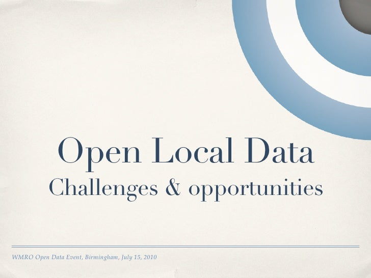 Open local data: challenges and opportunities