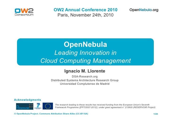 Open Nebula OW2 Conference Nov10
