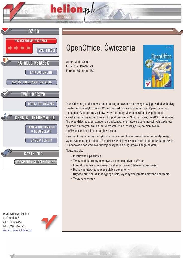 IDZ DO          PRZYK£ADOWY ROZDZIA£                             SPIS TRE CI   OpenOffice. Æwiczenia            KATALOG KS...