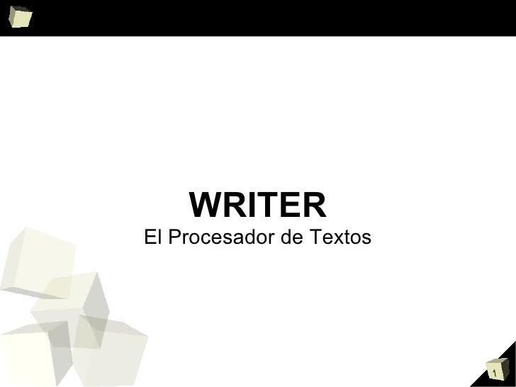 WRITER El Procesador de Textos