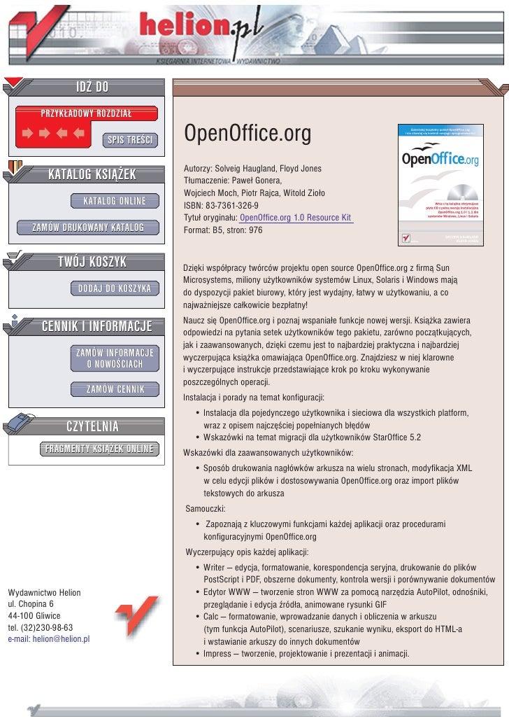 IDZ DO          PRZYK£ADOWY ROZDZIA£                             SPIS TRE CI   OpenOffice.org                             ...