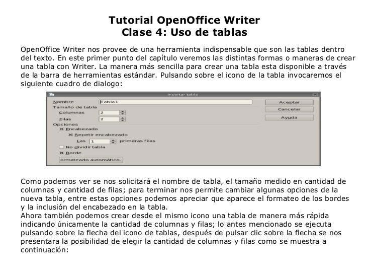 Tutorial OpenOffice Writer Clase 4: Uso de tablas OpenOffice Writer nos provee de una herramienta indispensable que son la...