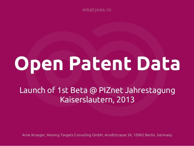 Open Patent Data Launch Presentation