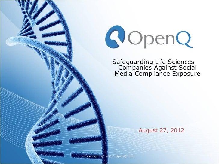 OpenQ webinar 8/27/12 SafeGuard SAFE social
