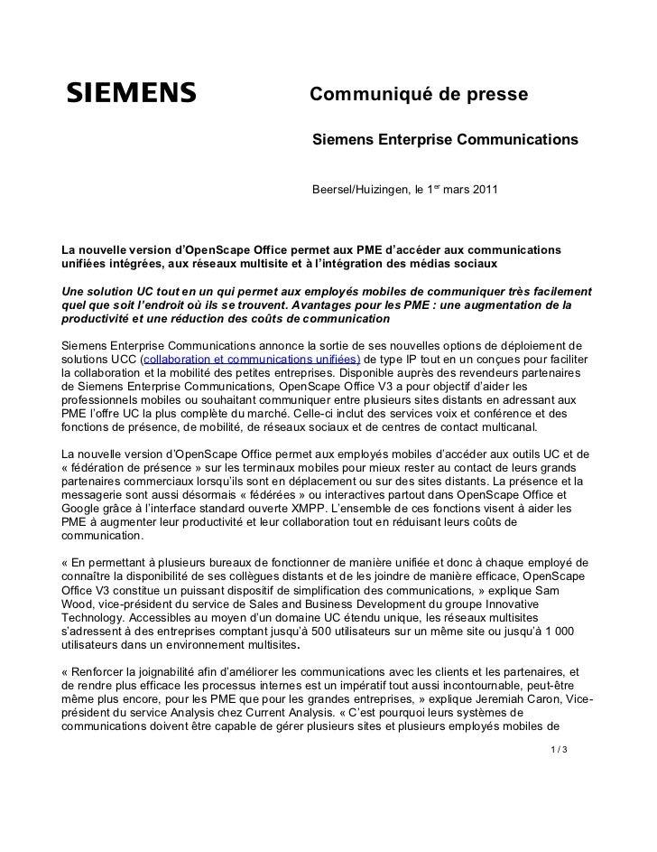 Communiqué de presse                                                Siemens Enterprise Communications                     ...