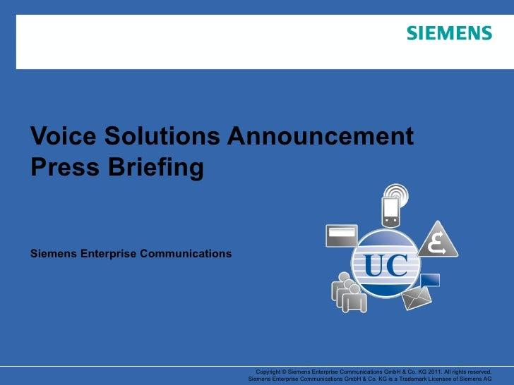 Voice Solutions Announcement Press Briefing Siemens Enterprise Communications